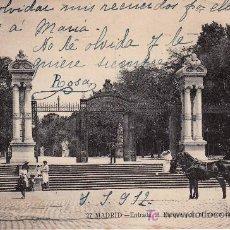 Postales: MADRID Nº27.ENTRADA AL PARQUE POR EL PASEO DE LAS ESTATUAS.. Lote 20855314