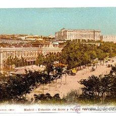 Postales: MADRID - ESTACIÓN DEL NORTE Y PALACIO REAL. Lote 8987293