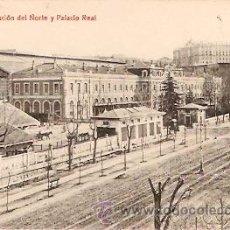 Postales: POSTAL MADRID ESTACION DEL NORTE Y PALACIO REAL . Lote 9284531