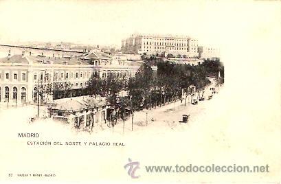 POSTAL MADRID ESTACION DEL NORTE Y PALACIO REAL (Postales - España - Comunidad de Madrid Antigua (hasta 1939))