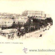 Postales: POSTAL MADRID ESTACION DEL NORTE Y PALACIO REAL. Lote 9284544