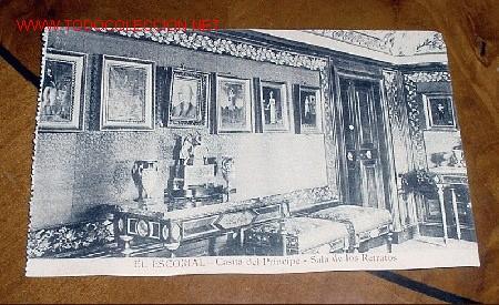 ANTIGUA POSTAL DE MADRID - EL ESCORIAL - CASITA DEL PRINCIPE - SALA DE LOS RETRATOS - MATEU S.A.- (Postales - España - Comunidad de Madrid Antigua (hasta 1939))