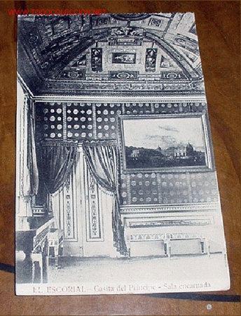 ANTIGUA POSTAL DE MADRID - EL ESCORIAL - CASITA DEL PRINCIPE - SALA ENCARNADA- MATEU S.A.- SIN CIR (Postales - España - Comunidad de Madrid Antigua (hasta 1939))