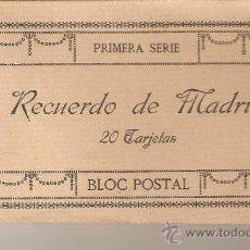Postales: BLOC POSTAL CON 20 TARJETAS POSTALES RECUERDO DE MADRID.PRIMERA SERIE. FOTOTIPIA J. ROIG. COMPETO.. Lote 27558958