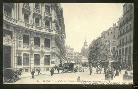 TARJETA POSTAL DE MADRID - CALLE DE SEVILLA Y BANCO HISPANO AMERICANO - SIN CIRCULAR (Postales - España - Comunidad de Madrid Antigua (hasta 1939))