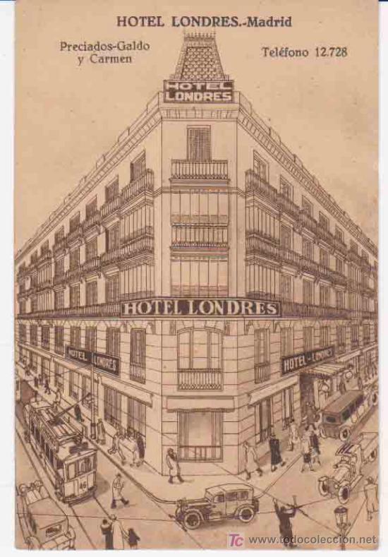 Postal antigua hotel londres madrid comprar postales for Londres hotel madrid