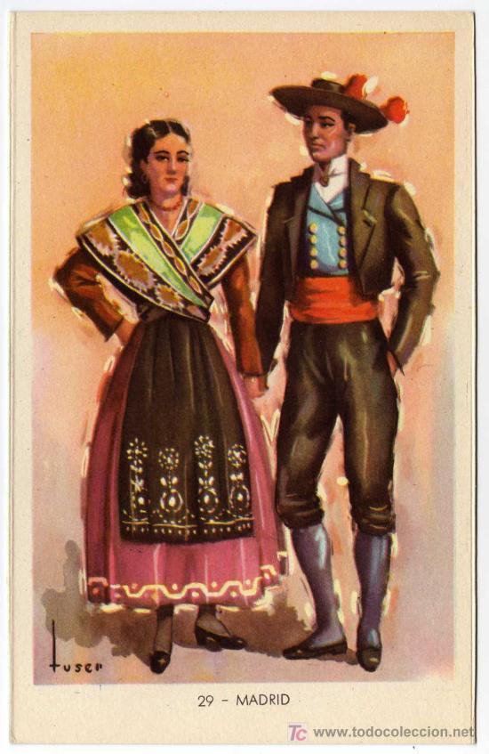 BONITA POSTAL - MADRID - PAREJA CON TRAJE REGIONAL (Postales - España - Comunidad de Madrid Antigua (hasta 1939))