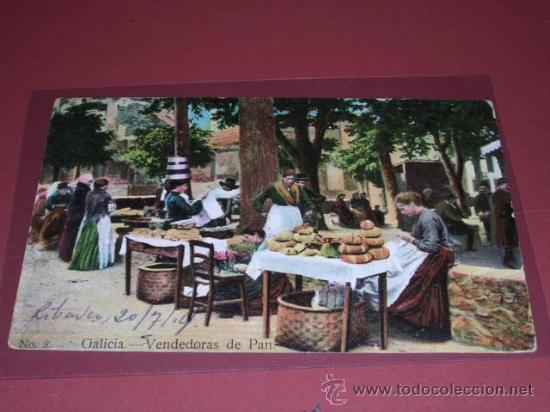 NO. 8 GALICIA-VENDEDORAS DE PAN,ERNESTO MADRID.POSTAL CIRCULADA 1914- (Postales - España - Comunidad de Madrid Antigua (hasta 1939))