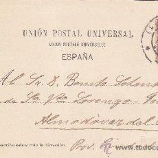 Postales: ALFONSO XIII PELON: TARJETA POSTAL CIRCULADA 1900 A ALMODOVAR DEL CAMPO: CORRIDA DE TOROS: UN QUITE.. Lote 23741720