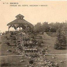 Postales: MADRID - PARQUE DEL OESTE, CASCADA Y KIOSCO - TG MADRID - CIRCULADA AÑO 1921. Lote 16575713