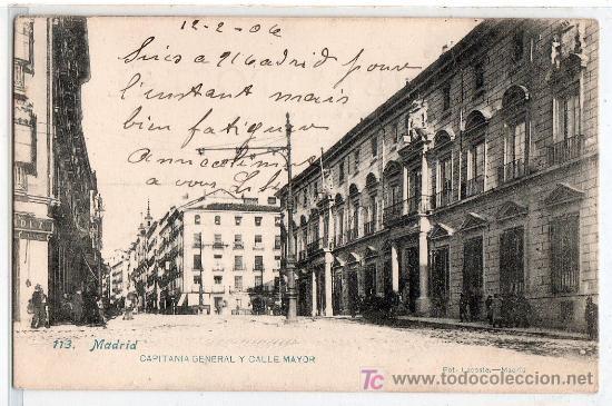 TARJETA POSTAL DE MADRID Nº 113. CAPITANIA GENERAL Y CALLE MAYOR. FOT. LACOSTE (Postales - España - Comunidad de Madrid Antigua (hasta 1939))
