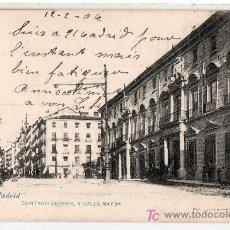 Postales: TARJETA POSTAL DE MADRID Nº 113. CAPITANIA GENERAL Y CALLE MAYOR. FOT. LACOSTE. Lote 16897326