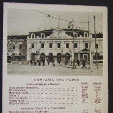 Postales: COMPAÑÍA DEL NORTE – MADRID ESTACIÓN DEL NORTE, FERROCARRIL – HORARIO – CAYON PUBLICATIONS, MADRID. Lote 25171105