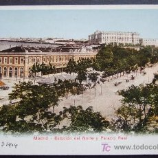 Postales: MADRID – ESTACIÓN DEL NORTE Y PALACIO REAL. Lote 25192077