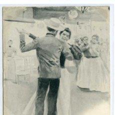 Postales: EL AGARRAO, MADRID, BAILES ESPAÑOLES DE BLANCO Y NEGRO. HAUSER Y MENET 565. CIRCULADA EN 1900, PELÓN. Lote 23685489