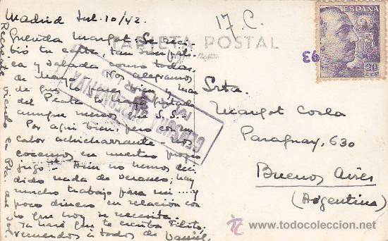Postales: PUERTA DEL SOL 1942: TARJETA POSTAL CIRCULADA A BUENOS AIRES, CON CENSURA. MATASELLOS CIFRA. RARA. - Foto 2 - 26622220