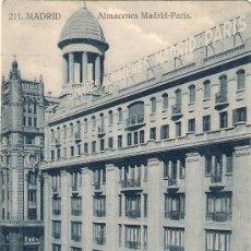 Postales: MADRID. ALMACENES MADRID- PARÍS. Lote 20686887