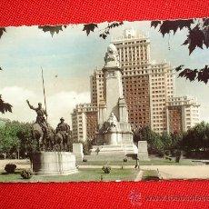 Postales: POSTAL MADRID , MONUMENTO A CERVANTES , DON QUIJOTE Y SANCHO PANZA. Lote 21564850