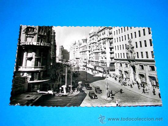 POSTAL MADRID, VISTA PARCIAL AVENIDA JOSÉ ANTONIO. CIRCULADA AÑO 1949. . (Postales - España - Madrid Moderna (desde 1940))
