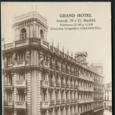 Postales: GRAND HOTEL, ARENAL 19 Y 21. MADRID. GRAFOS.. Lote 166635248