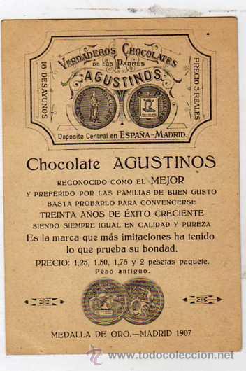 MADRID. POSTAL COMERCIAL CON PUBLICIDAD DE CHOCOLATE AGUSTINOS. REVERSO PARA LOS PEDIDOS. (Postales - España - Comunidad de Madrid Antigua (hasta 1939))
