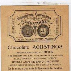 Postales: MADRID. POSTAL COMERCIAL CON PUBLICIDAD DE CHOCOLATE AGUSTINOS. REVERSO PARA LOS PEDIDOS.. Lote 25474132