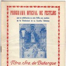 Postales: MADRID. PROGRAMA OFICIAL DE FESTEJOS NTRA SRA DE BUTARQUE. LEGANES MADRID, AGOSTO 1959.. Lote 25930327