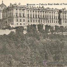 Postales: MADRID - PALACIO REAL DESDE EL PASEO DE SAN VICENTE. Lote 26003344