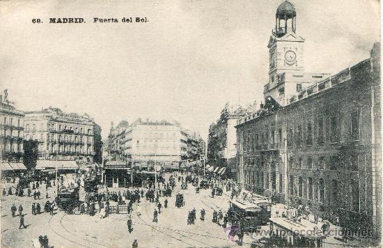 Tarjeta postal antigua de madrid puerta del so comprar for Edificio puerta real madrid