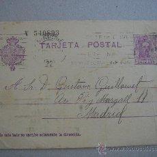 Postales: TARJETA POSTAL CON CURIOSO TEXTO . CIRCULADA, ESCRITA Y CON SELLO DE 15 CTS DE ALFONSO XIII. Lote 26275479