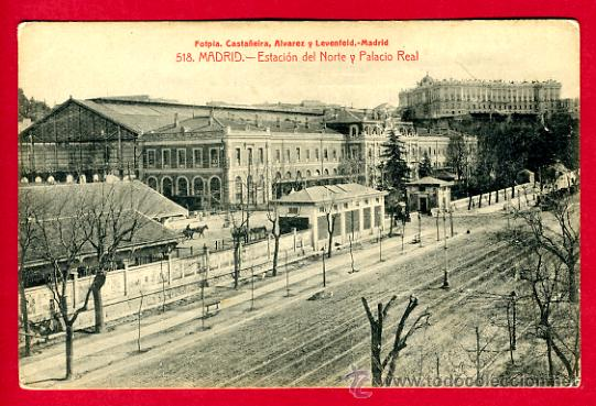 MADRID, ESTACION DEL NORTE Y PALACIO REAL, P60334 (Postales - España - Comunidad de Madrid Antigua (hasta 1939))