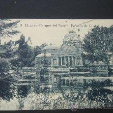 """Postales: """"MADRID. PARQUE DEL RETIRO. PALACIO DE CRISTAL"""". CIRCULADA, ESCRITA Y SELLO 15 CTS DE ALFONSO XIII. Lote 26930272"""