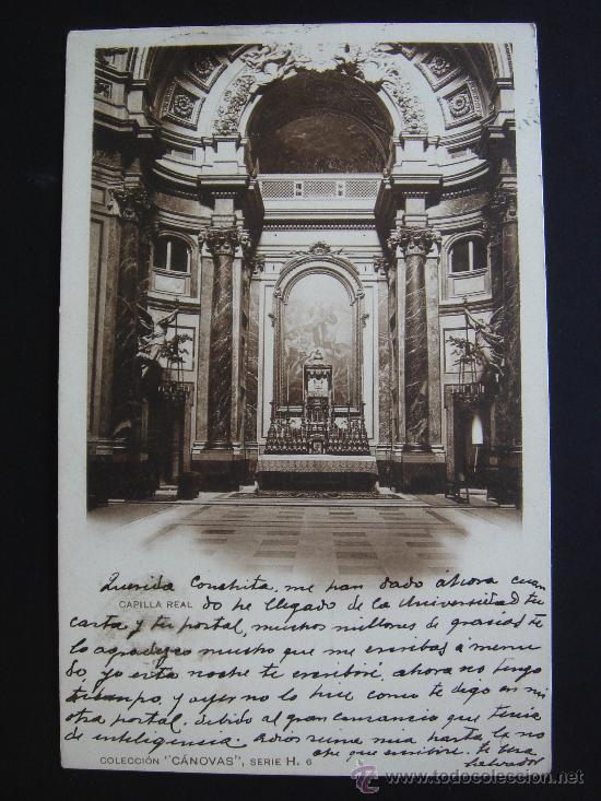 """""""CAPILLA REAL. COLECCIÓN CÁNOVAS"""". CIRCULADA, ESCRITA Y CON SELLO 10 CTS DE ALFONSO XIII (30-X-05) (Postales - España - Comunidad de Madrid Antigua (hasta 1939))"""