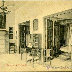 Postales: POSTAL ANTIGUA MADRID EL ESCORIAL HABITACIÓN FELIPE II. Lote 28523321