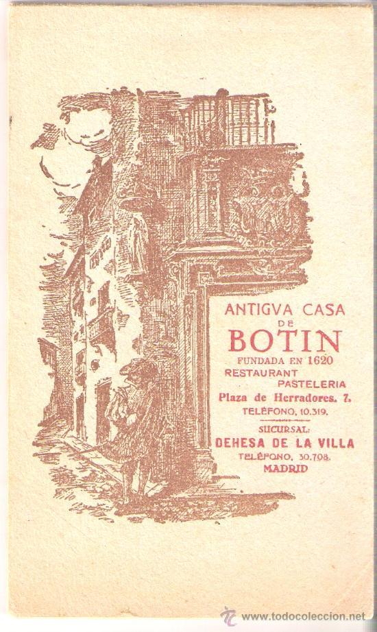 MADRID- ANTIGUA CASA BOTIN - BLOCK COMPLETO DE 12 POST .+ EXPL.+ MAPA VER FOTOS ADICIONALES - (B-54) (Postales - España - Comunidad de Madrid Antigua (hasta 1939))