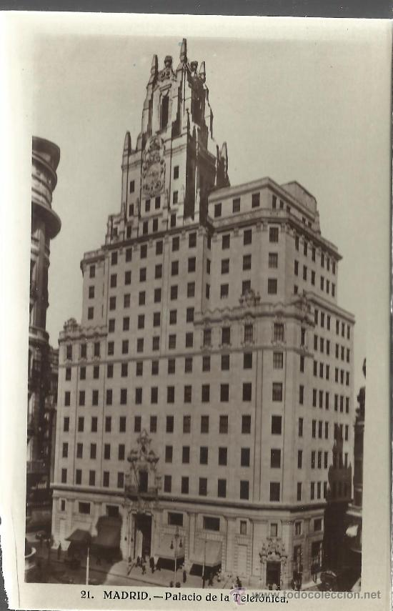 MADRID PALACIO TELEFONICA SIN CIRCULAR (Postales - España - Comunidad de Madrid Antigua (hasta 1939))