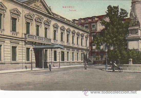 AÑO 1912: SENADO. BONITA TARJETA POSTAL NUMERO 17 DE DR.TRENKLER CIRCULADA A URUGUAY. (Postales - España - Comunidad de Madrid Antigua (hasta 1939))