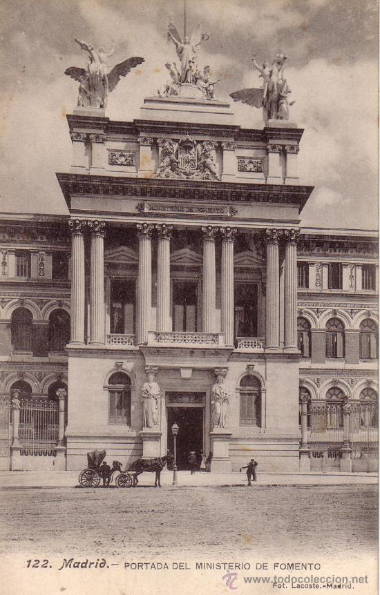 Nº 11697 POSTAL MADRID PORTADA DEL MINISTERIO DE FOMENTO CARRUAGE (Postales - España - Comunidad de Madrid Antigua (hasta 1939))