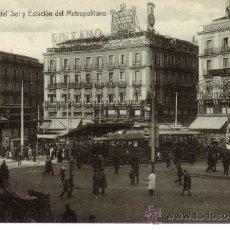 Postales: Nº 11562 MADRID PUERTA DEL SOL Y ESTACION DEL METROPOLITANO. Lote 30441937
