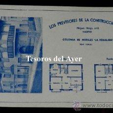 Postales: ANTIGUA POSTAL DE LA COLONIA DE HOTELES LA REGALADA, LOS PREVISORES DE LA CONSTRUCCION S.A., MADRID,. Lote 30514542