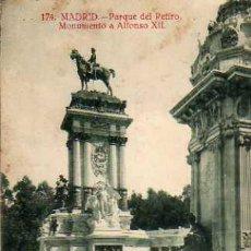 Postales: MADRID Nº 174 PARQUE DEL RETIRO MONUMENTO A ALFONSO XII GRAFOS MADRID ESCRITA CIRCULADA SELLO. Lote 30532123