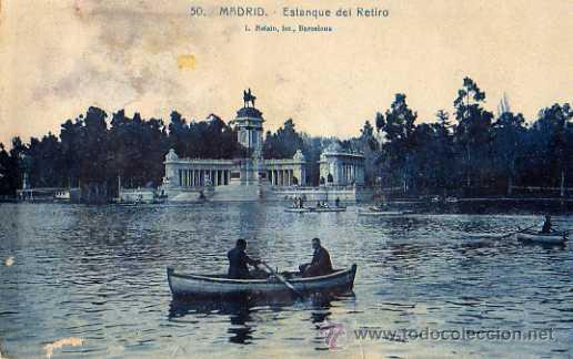 MADRID Nº 50 ESTANQUE DEL RETIRO L. ROISÍN FOTOGRAFO ESCRITA CIRCULADA SIN SELLO (Postales - España - Comunidad de Madrid Antigua (hasta 1939))