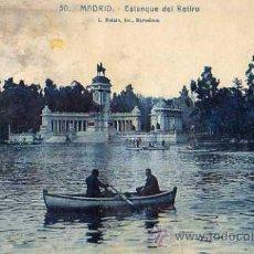 Postales: MADRID Nº 50 ESTANQUE DEL RETIRO L. ROISÍN FOTOGRAFO ESCRITA CIRCULADA SIN SELLO. Lote 30562984