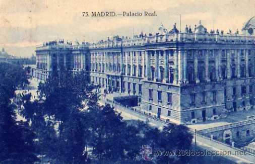 MADRID Nº 75 PALACIO REAL ESCRITA CIRCULADA AÑO 1928 Y SELLO (Postales - España - Comunidad de Madrid Antigua (hasta 1939))