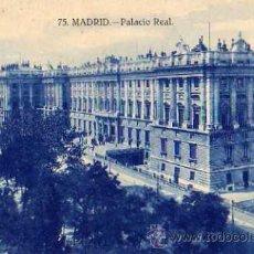 Postales: MADRID Nº 75 PALACIO REAL ESCRITA CIRCULADA AÑO 1928 Y SELLO. Lote 30565812