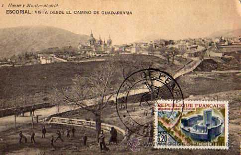 ESCORIAL VISTA DESDE EL CAMINO DE GUADARRAMA HAUSER Y MENET CIRCULADA SELLO (Postales - España - Comunidad de Madrid Antigua (hasta 1939))
