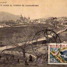 Postales: ESCORIAL VISTA DESDE EL CAMINO DE GUADARRAMA HAUSER Y MENET CIRCULADA SELLO . Lote 30591545