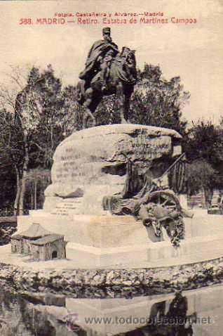 MADRID Nº 588 RETIRO ESTATUA DE MARTÍNEZ CAMPOS CASTAÑEIRA Y ÁLVAREZ SIN CIRCULAR (Postales - España - Comunidad de Madrid Antigua (hasta 1939))