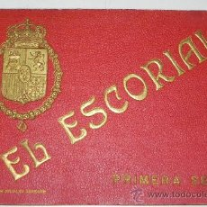 Postales: ANTIGUO LIBRO DE 18 VISTAS DE EL ESCORIAL, ENCUADERNACION LUJO, CON LETRAS Y ESCUDO EN RELIEVE COLOR. Lote 30799671