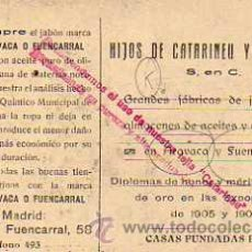 Postales: PUBLICIDAD JABONES ARAVACA Y FUENCARRAL. CATARINEU. VISTA SAN ESTEBAN DE PRAVIA.. Lote 30912924
